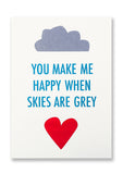 Letterpress Skies are Grey Postcard Sold in 12's