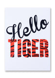Letterpress Hello Tiger Postcard