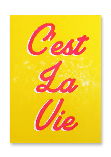 Letterpress C'est la Vie Postcard Sold in 12's