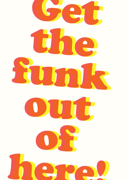 Letterpress Get The Funk Out Postcard