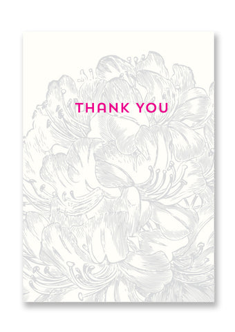 Letterpress Thank You Flowers Postcard