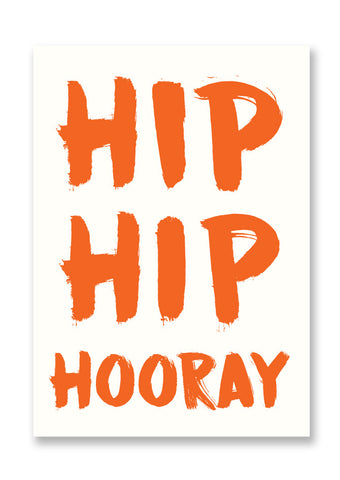Letterpress Hip Hip Hooray Postcard