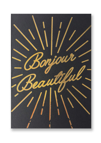 Letterpress Bonjour Beautiful Postcard