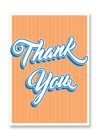 Letterpress Thank You Script Postcard