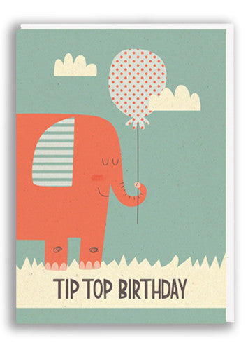 Paper and Cloth Tip Top Birthday Greetings Card Sold in 6's