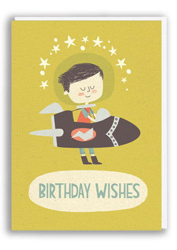 Paper and Cloth Birthday Rocket Boy Greetings Card Sold in 6's