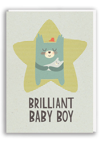Paper and Cloth Baby Boy Greetings Card Sold in 6's