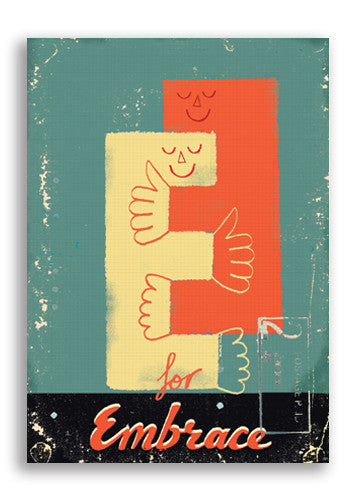 Paul Thurlby E Is For Embrace Postcard