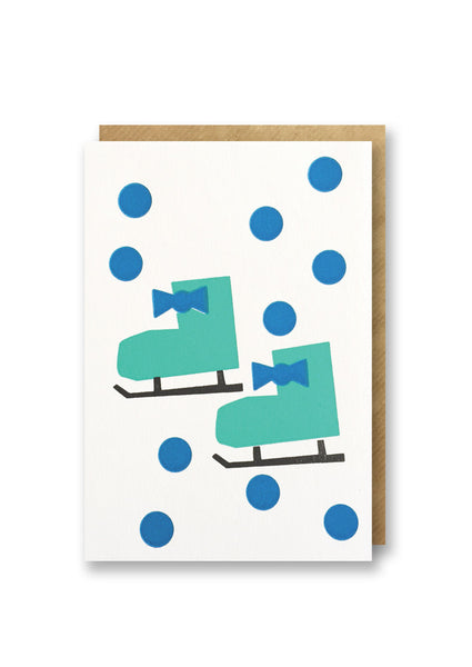 Bits and Bobs Ice Skates Letterpressed Christmas Mini Card Pack of 6 - Sold in 6's