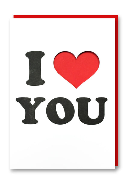 I Heart You Letterpressed Greetings Card Sold in 6's