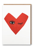Winking Heart Letterpressed Greetings Card Sold in 6's
