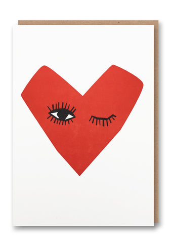 Winking Heart Letterpressed Card