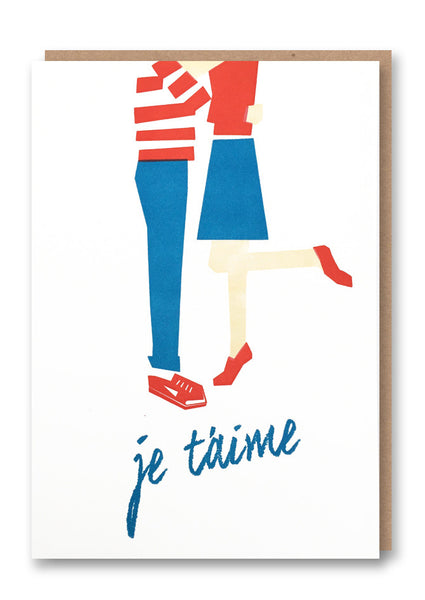 Je T'aime Letterpressed Greetings Card Sold in 6's