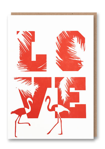 Flamingo Love Letterpressed Greetings Card