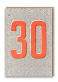 Thirty Letterpress Card