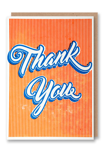 Thank You Script Letterpressed Greetings Card Sold in 6's