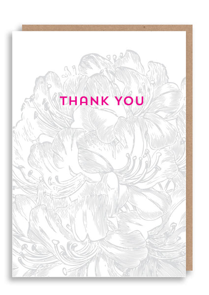 Thank You Flower Letterpress Card Sold in 6's