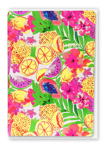 Oliver Bonas Fruit Salad Happy Birthday Card Sold in 6's (ONLY AVAILABLE TO CUSTOMERS BASED OUTSIDE THE UK)
