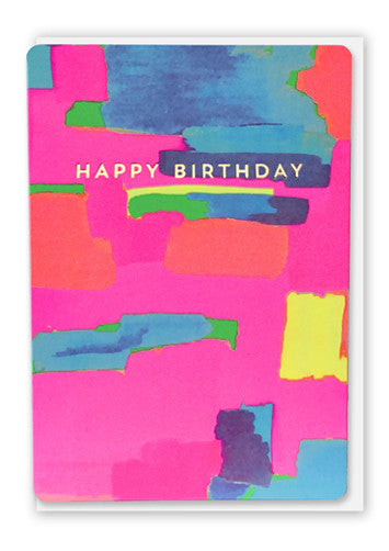 Oliver Bonas Block Paint Happy Birthday Card Sold in 6's (ONLY AVAILABLE TO CUSTOMERS BASED OUTSIDE THE UK)