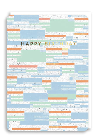 Oliver Bonas Bloc Stripe Happy Birthday Card Sold in 6's (ONLY AVAILABLE TO CUSTOMERS BASED OUTSIDE THE UK)