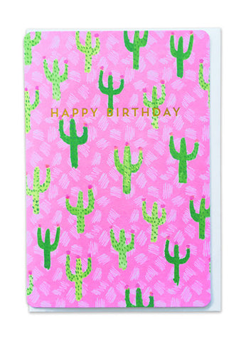Oliver Bonas Cactus Sketch Happy Birthday Card Sold in 6's (ONLY AVAILABLE TO CUSTOMERS BASED OUTSIDE THE UK)