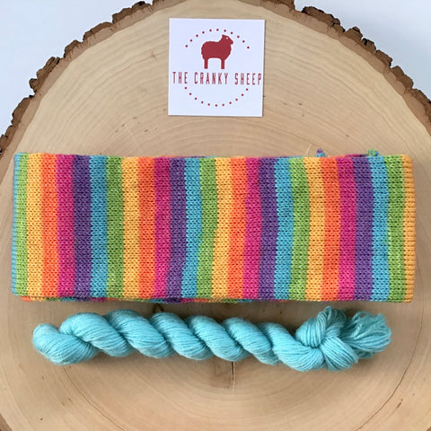Soft Rainbow Stripe with Aqua