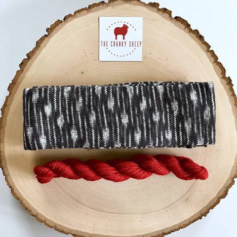 Super Soft Merino Black & Grey with Cranky Red 60SKFI02R