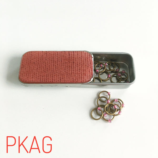 Knit Print Hand Embellished Stitch Marker Boxes