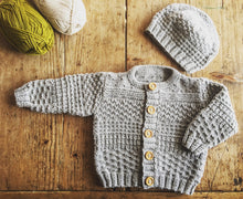 Load image into Gallery viewer, Austin Baby Cardigan and Hat knitting pattern at Eskdale Yarns
