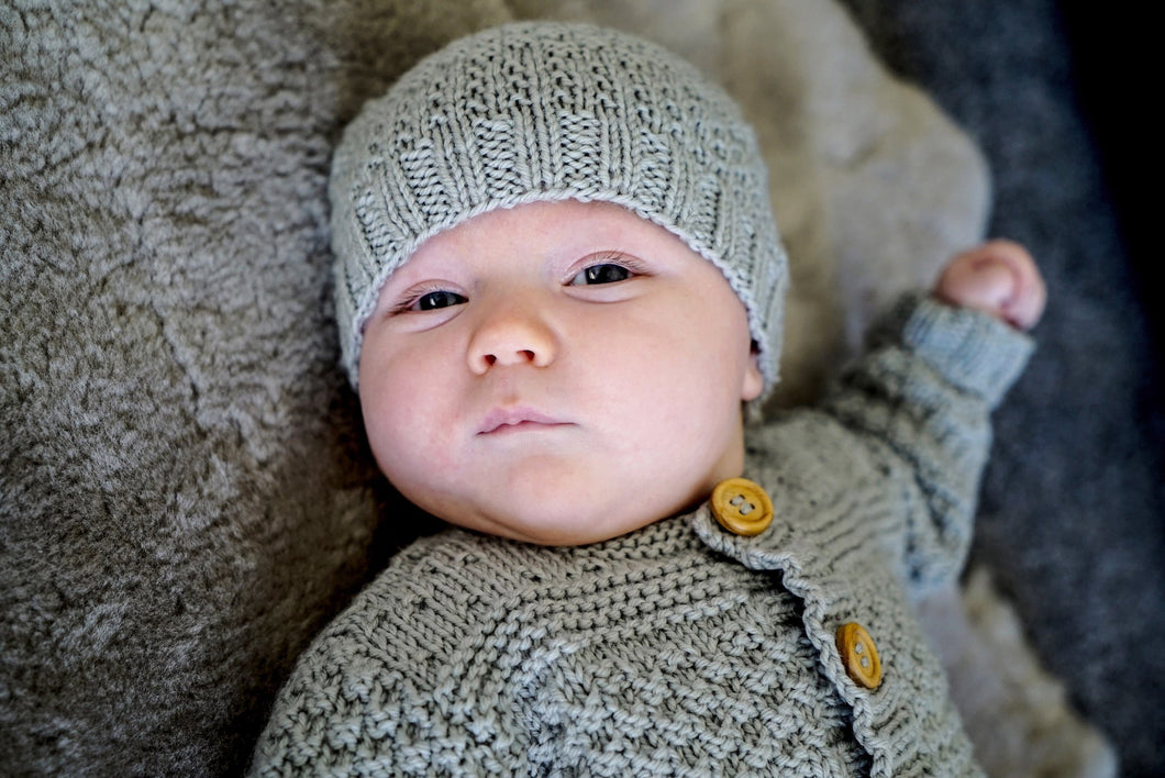Austin Baby Cardigan and Hat knitting pattern at Eskdale Yarns