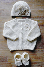 Load image into Gallery viewer, Brittany Floral Cardi Hat and Shoes baby pattern at Eskdale Yarns