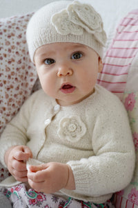 Brittany Floral Cardi Hat and Shoes baby pattern at Eskdale Yarns