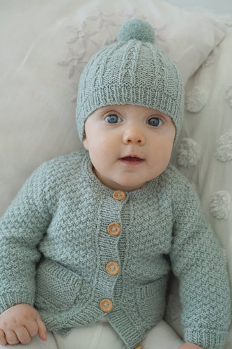 Taylor cardi and hat Lisaf Baby knitting pattern at Eskdale Yarns