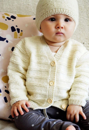 Augusta cardigan and hat baby knitting pattern at Eskdale Yarns