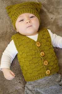 Theodore Baby Vest and Hat knitting pattern at Eskdale Yarns