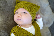 Load image into Gallery viewer, Theodore Baby Vest and Hat knitting pattern at Eskdale Yarns