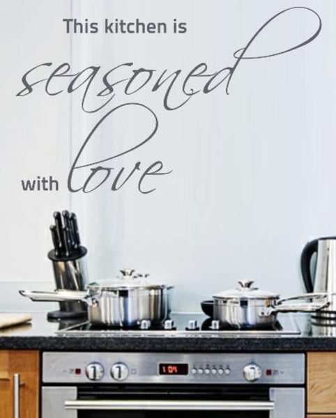 SEASONED WITH LOVE KITCHEN QUOTE TYPE 2 WALL ART STICKER XLRG VINYL DECAL - Vinyl Lady Decals  - 1