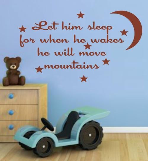 LET HIM SLEEP INSPIRATIONAL QUOTE WALL ART STICKER LRG VINYL DECAL - Vinyl Lady Decals  - 1