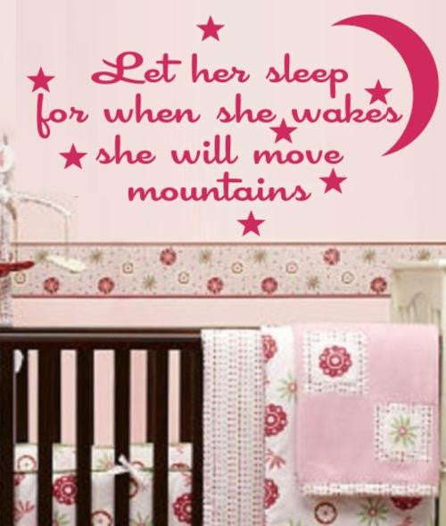 LET HER SLEEP INSPIRATIONAL QUOTE WALL ART STICKER LRG VINYL DECAL - Vinyl Lady Decals  - 1