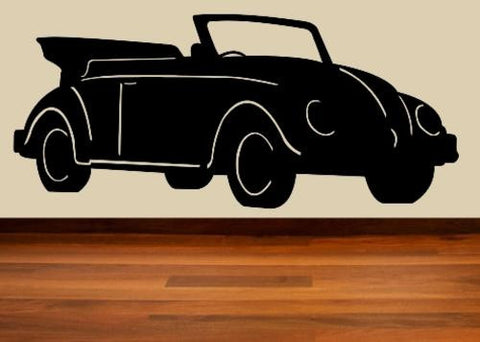 VW BEETLE SOFT TOP CAR WALL ART STICKER XLRG VINYL DECAL - Vinyl Lady Decals  - 1
