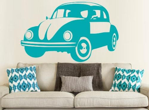 VW BEETLE CAR 1 WALL ART STICKER XLRG VINYL DECAL - Vinyl Lady Decals  - 1