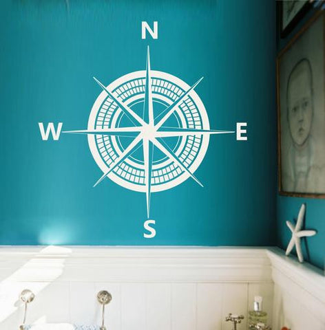 NAUTICAL COMPASS 1 - WALL ART STICKER XLRG VINYL DECAL - Vinyl Lady Decals  - 1