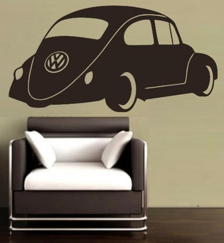 VW BEETLE CAR 2 WALL ART STICKER XLRG VINYL DECAL - Vinyl Lady Decals  - 1