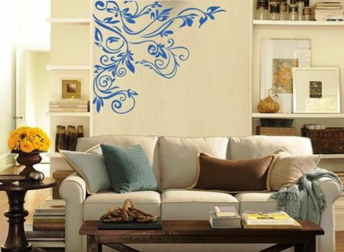 Floral Corner Wall Art Sticker Vinyl Decal Various Sizes