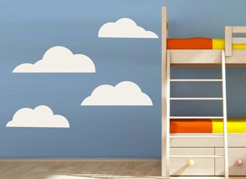 Clouds Set of 4 Wall Art Stickers Vinyl Decals Various Sizes