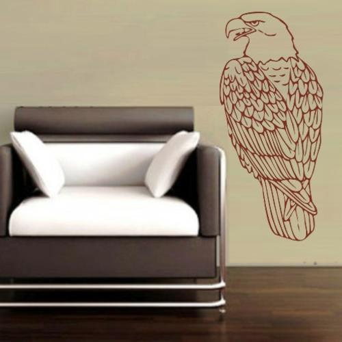 PERCHED EAGLE BIRD 2 WALL ART STICKER XLRG VINYL DECAL - Vinyl Lady Decals  - 1