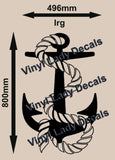 Nautical Anchor With Rope Wall Art Sticker Vinyl Decal Various Sizes