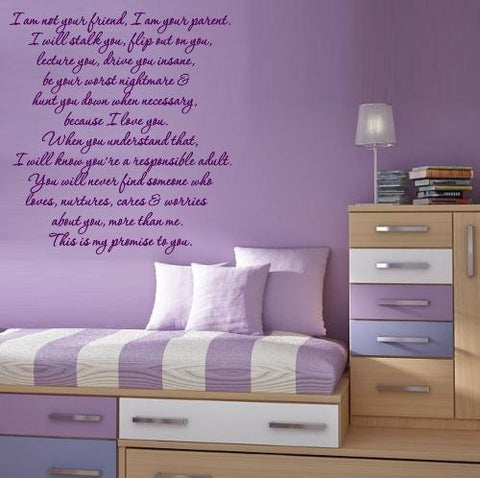 YOUR PARENT QUOTATION 2 WALL ART STICKER XLRG VINYL DECAL - Vinyl Lady Decals  - 1
