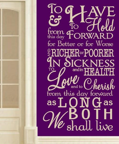 WEDDING & MARRIAGE VOWS QUOTE TYPE 1 WALL ART STICKER XXLRG VINYL DECAL - Vinyl Lady Decals  - 1