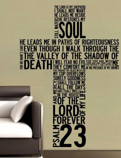 PSALM 23 CROSS BIBLE QUOTATION STICKER XLRG VINYL DECAL - Vinyl Lady Decals  - 1